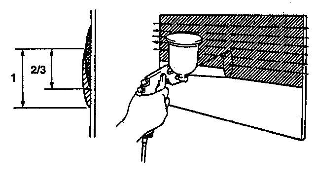 độ chồng 2/3 khi phun sơn
